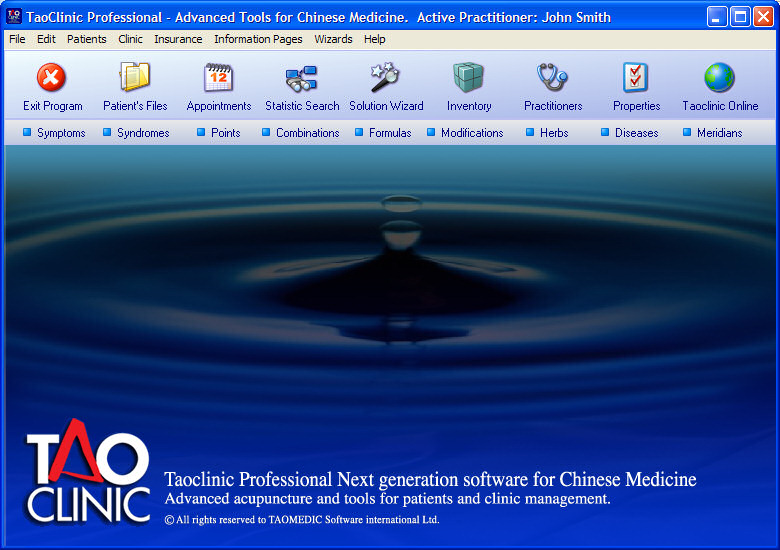 Taoclinic main screen